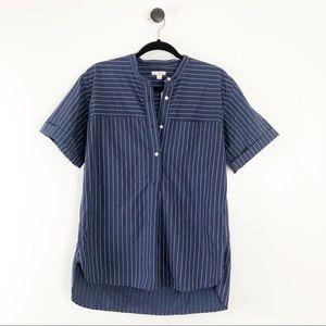 Gap Short Sleeve Striped Half Button Shirt Blue